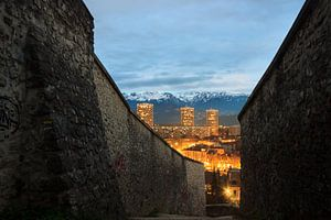 View of Grenoble after sunset from the Bastille