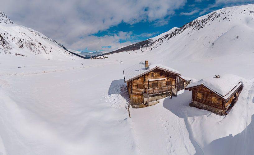 Het Sertigtal, Sertig Sand, Davos, Graubünden, Zwitserland van Rene van der Meer