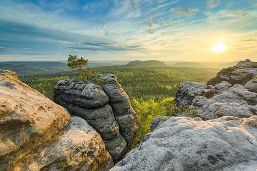 Sunset in Saxon Switzerland van Michael Valjak