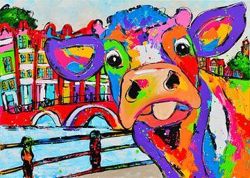 Kuh in Amsterdam von Vrolijk Schilderij