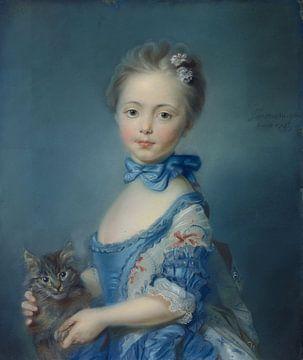 Meisje met kitten, Jean-Baptiste Perronneau van Atelier Liesjes