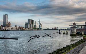 Skyline Rotterdam vanaf Bolwerk met Erasmusbrug, De Rotterdam, Maastoren