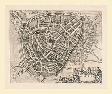 Karte von Amersfoort, anno 1652, mit weißem Rahmen von Gert Hilbink