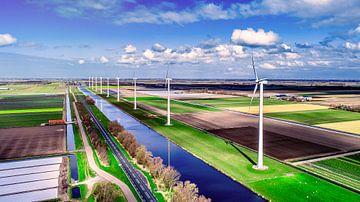 Moderne windmolens Noord holland