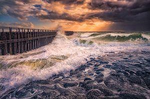 Herfst storm aan de Nederlandse kust van