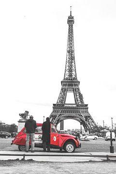 Rode Citroën in Parijs van Jarno Dorst