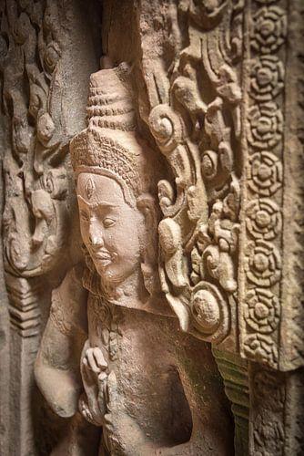 Detail van een deva bij de tempel, Cambodja