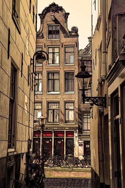 Tekening De Wallen Amsterdam Nederland  Pentekening Lijntekening Oud van Hendrik-Jan Kornelis