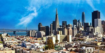 Panorama skyline binnenstad San Francisco Californië van Dieter Walther
