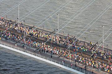 De start van de Marathon op de Erasmusbrug in Rotterdam van