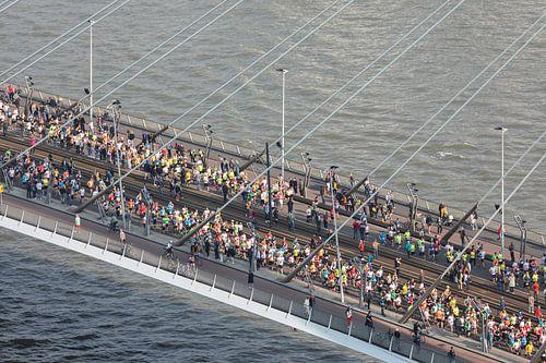 De start van de Marathon op de Erasmusbrug in Rotterdam