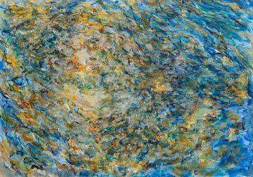 Impressionistische Malerei: Spiegelung des Sonnenlichts an einer Quelle am Morgen von Paul Nieuwendijk