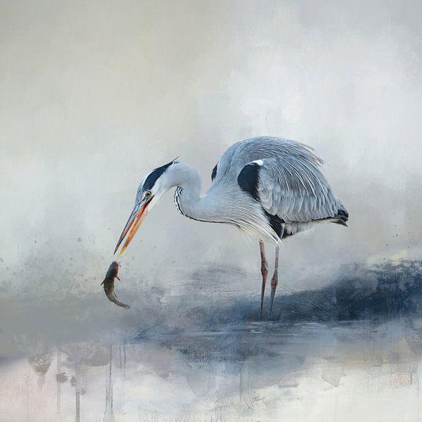 Abstract Aquarel Schilderij Met Vogel In Blauw En Beige van Diana van Tankeren