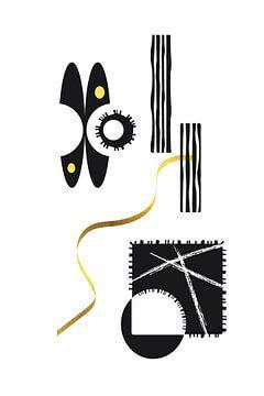 Zwart-wit abstracte samenvatting nr. 3 | goud van Melanie Viola