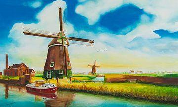 Molens Nederland (Landschap  aquarel) van David Soekana