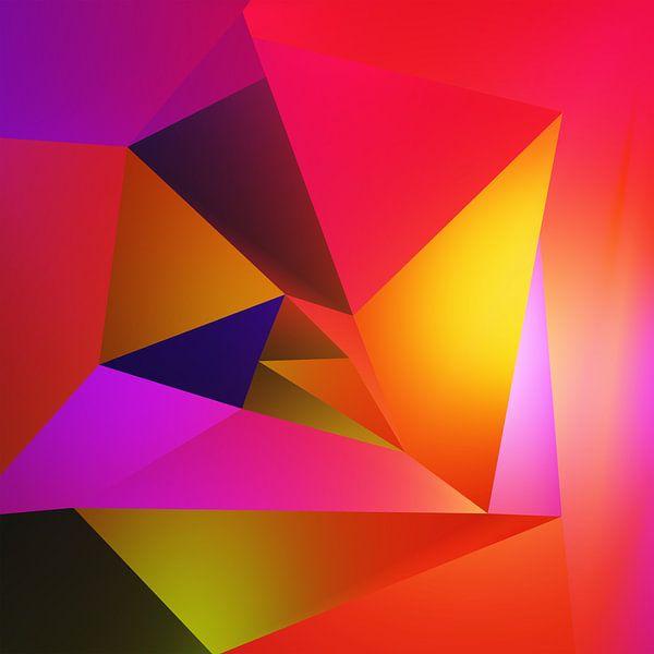 Abstracte kleurrijke dynamische compositie van Pat Bloom - Moderne 3D, abstracte kubistische en futurisme kunst