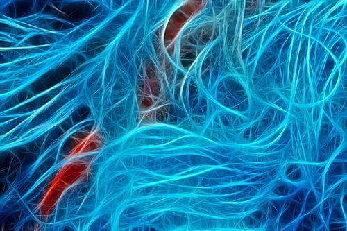 Bewerkte foto van een visnet van
