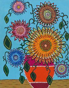 zonnebloemen in een ander jasje van