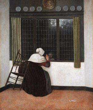 Frau winkt einem Kind hinter einem Fenster zu, Jacobus Vrel