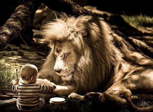 Leeuw met baby beeldmanipulatie van