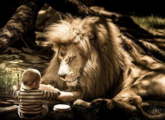 Leeuw met baby beeldmanipulatie