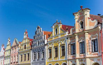 Bunte Fassaden der historischen Häuser in Telc von Marc Venema