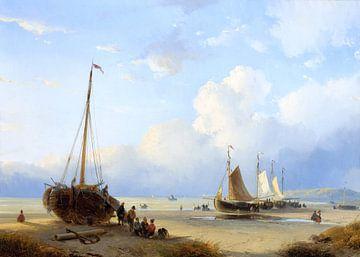 Fischer mit gestrandeten Booten, Andreas Schelfhout von Atelier Liesjes