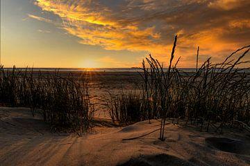 Zonsondergang op het strand Vlieland van Tessa Louwerens