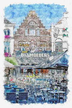 """Café """"Bij Moeders"""" in Roosendaal (Aquarell) von Art by Jeronimo"""