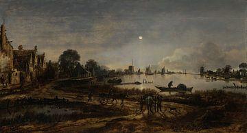 Flußlandschaft mit Schiffen bei Mondschein - Aert van der Neer