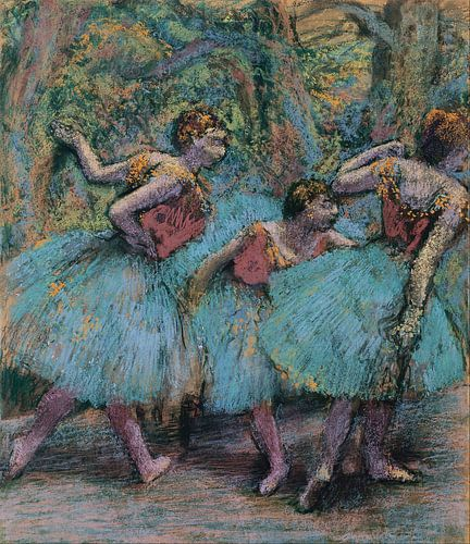Edgar Degas. Three Dancers (Blue Tutus, Red Bodices) van 1000 Schilderijen