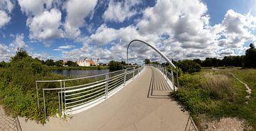 Panorama de Dessau - Pont Tiergarten et ligne d'horizon de la vieille ville