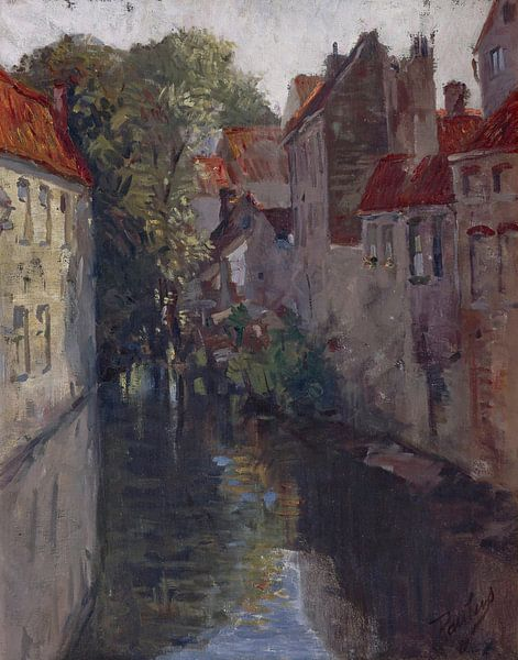 Francis Petrus Paulus (Amerikaner, 1862-1933)~Eine Hintergasse in Brügge von finemasterpiece