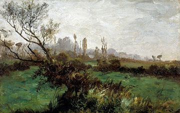 Carlos de Haes-Lente Landschaft, grünes Gras, Antike Landschaft