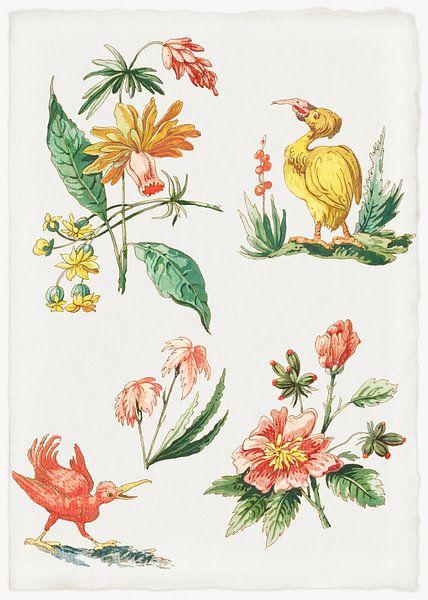 Blumenmuster mit zwei Vögeln, Giacomo Cavenezia von Meesterlijcke Meesters