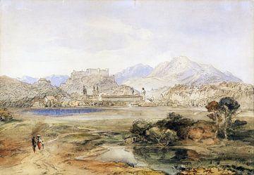 Salzburg mit der Festung Hohensalzburg und dem Kapuzinerkloster, Ca. 1820-1850 von Atelier Liesjes