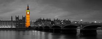 Panorama Big Ben en partie noir / blanc Londres sur Anton de Zeeuw