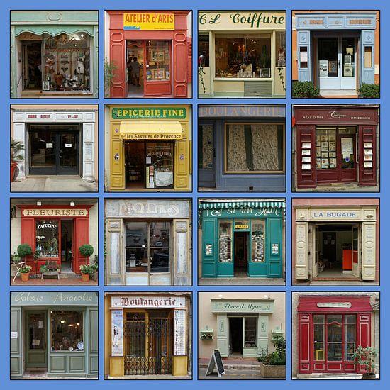 Collage van authentieke Franse etalages.