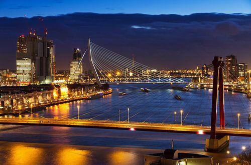 Rotterdamse bruggen in de avond van Dennis van de Water