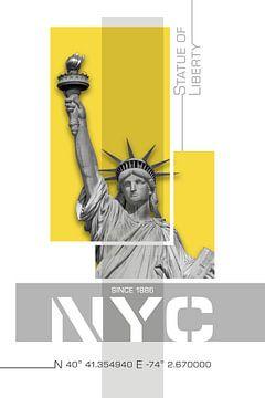NYC Vrijheidsbeeld | geel van Melanie Viola