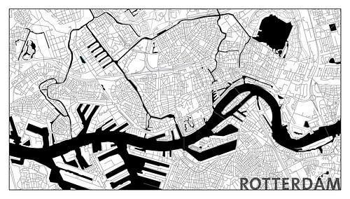 Rotterdam Centrum Plattegrond - Panorama Wit en Tekst