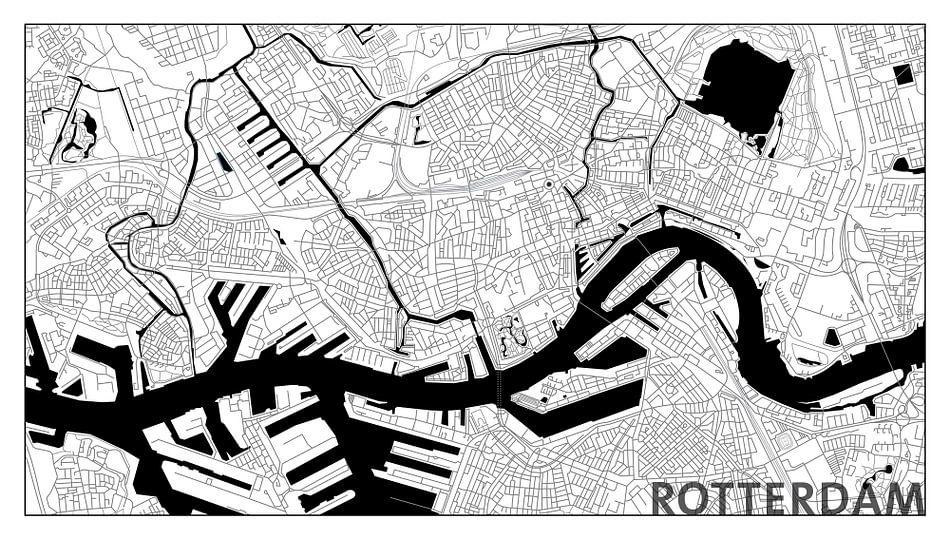 Rotterdam Centrum Plattegrond - Panorama Wit met Tekst - witte kader