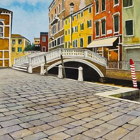 Venetië - Campo dei Frari | Schilderij van - Wereldkaarten.Shop -