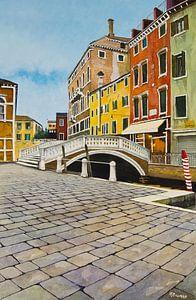 Kleurrijk Venetië - Aquarel schilderij