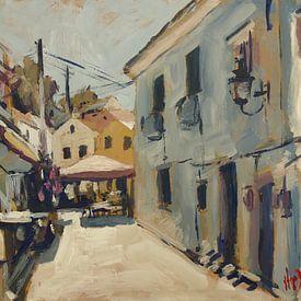 Schmale Straße entlang der Taverne O'Gios, Loggos von Nop Briex
