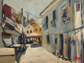Schmale Straße entlang der Taverne O'Gios, Loggos