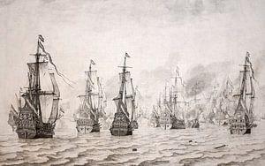 Zeeslag bij Duinkerken, 18 februari 1639 - Willem van der Velde ca 1640 van