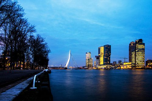 De Erasmusbrug in Rotterdam bij het vallen van de avond