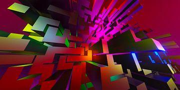 Dynamische 3D digitale pixel blokken invasie kunstwerk van Pat Bloom - Moderne 3d en abstracte kubistiche kunst