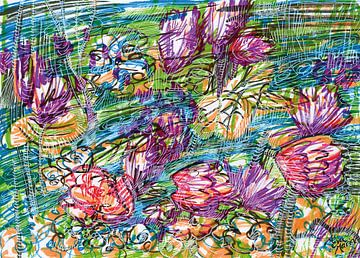 Rivier met bloemen von Eva van den Hamsvoort